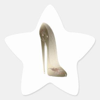 Golden Stiletto High Heel Shoe Art Star Sticker