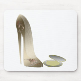 Golden Stiletto Shoe and Make-up Compact Art Mouse Pad