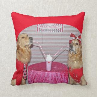 Golden Strawberry Milkshake Throw Pillow