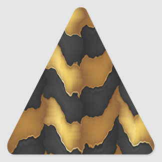 Golden Streak Goodluck Energy Wave Pattern art Triangle Sticker