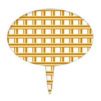 Golden stripe background cake topper