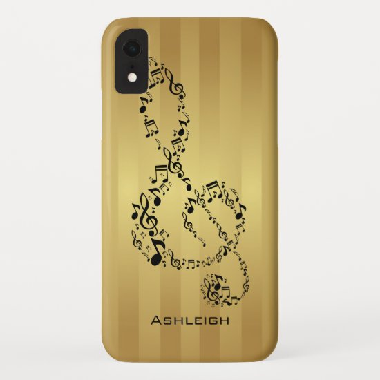 Golden Stripes Black Treble Clef Music Notes iPhone XR Case