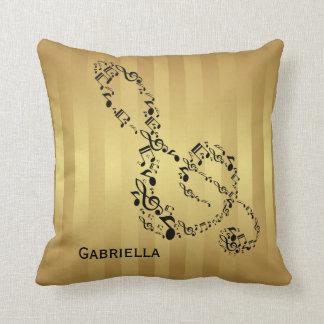 Golden Stripes Black Treble Clef Music Notes Throw Pillow