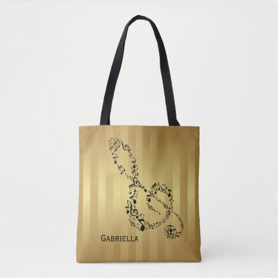 Golden Stripes Black Treble Clef Music Notes Tote Bag