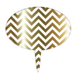 Golden Stripes Chevron Pattern Cake Topper
