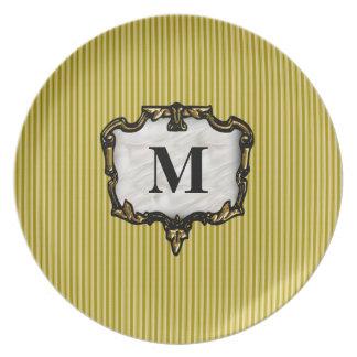 Golden Stripes Gold Monogram Dinner Plates