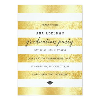 Golden Stripes Graduation Invitation