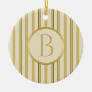Golden Stripes Monogram Ceramic Ornament