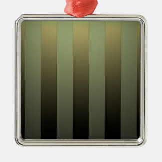 GOLDEN STRIPES ON GREEN SHADE METAL ORNAMENT