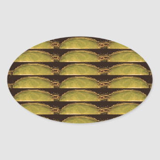 GOLDEN Strips Pattern : From VINTAGE Idol Image Oval Stickers