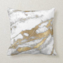 Golden Strokes Metallic Glitter Marble Gray Stone Throw Pillow