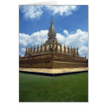 golden stupa laos greeting card