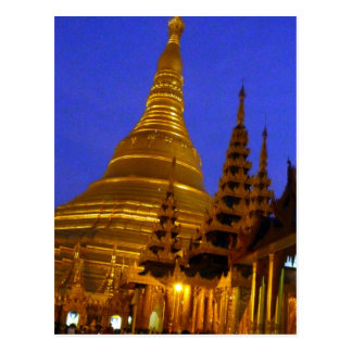 golden stupa shwedagon night post cards