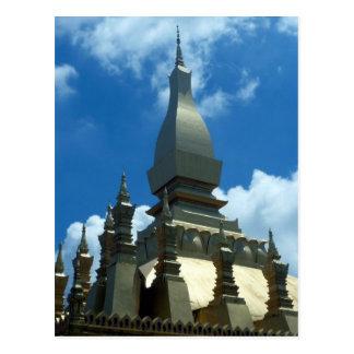 golden stupa top lao postcard