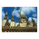 golden stupa vientiane greeting card
