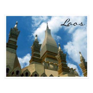 golden stupa vientiane postcard