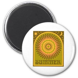 Golden Summer Sun 2 Inch Round Magnet