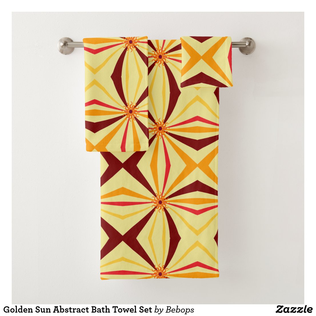 Golden Sun Abstract Bath Towel Set