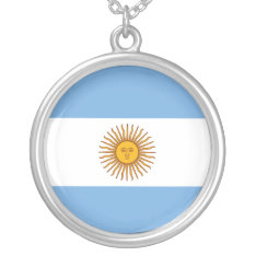 Golden Sun Argentina Flag Silver Plated Necklace at Zazzle