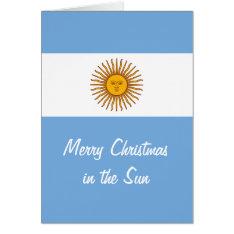Golden Sun Argentina Flag Sunny Christmas Card at Zazzle