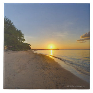 Golden Sun Ball Setting Over Tropical Island Large Square Tile