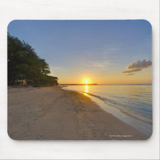 Golden Sun Ball Setting Over Tropical Island Mouse Pad