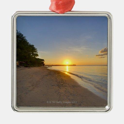 Golden Sun Ball Setting Over Tropical Island Christmas Ornament