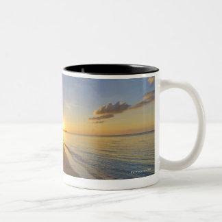 Golden Sun Ball Setting Over Tropical Island Two-Tone Coffee Mug