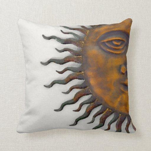 Golden Sun Face Throw Pillow