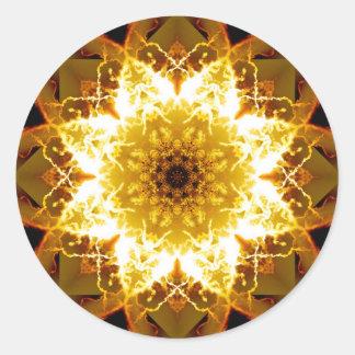 Golden Sun Mandala Classic Round Sticker