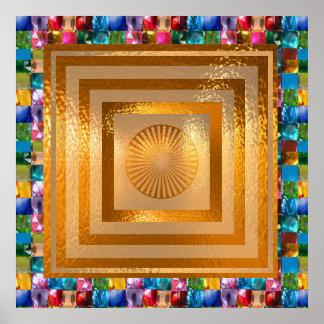 Golden Sun Mandala - GEM Stones Border Poster