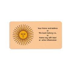Golden Sun Of Argentina Flag Name Address Labels at Zazzle
