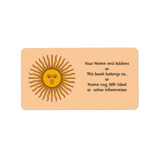 Golden Sun Of Argentina Flag Name Address Labels at Zazzle