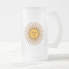 Golden Sun Of May Argentina Flag Drinks Glass Frosted Glass Beer Mug at Zazzle