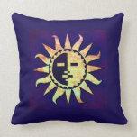 Golden Sun on Purple Throw Pillows