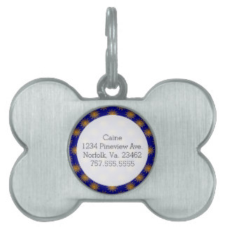 Golden Sun Pattern Pet Name Tag