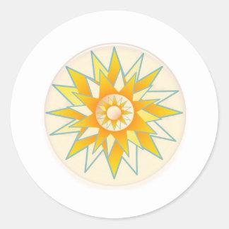 Golden Sun Shine Flower Round Stickers