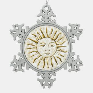 Golden Sun & Snow Flakes - Pewter Snowflake Pewter Christmas Ornament