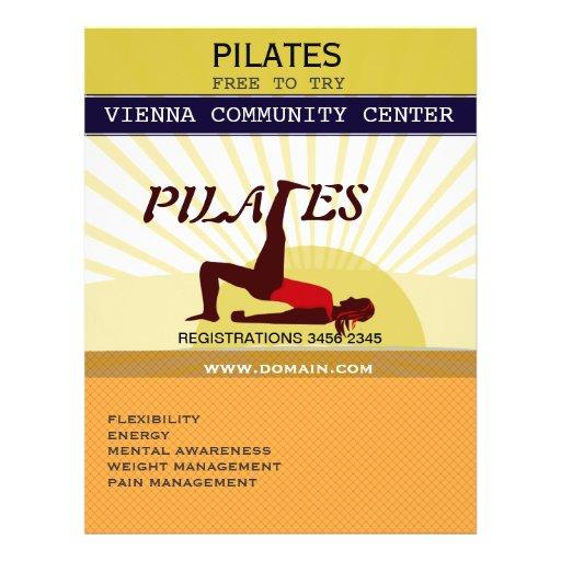 """Golden Sun Sports Fitness Pilates 8.5"""" X 11"""" Flyer"""