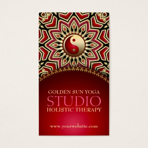Golden Sun Yoga Reiki Balance Red Business Cards