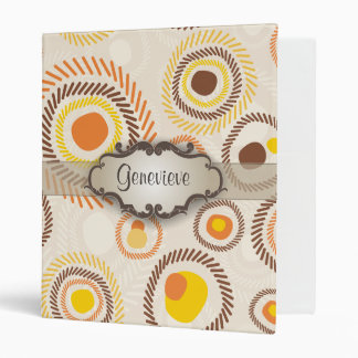 Golden Sunbursts with Nameplate 3 Ring Binder