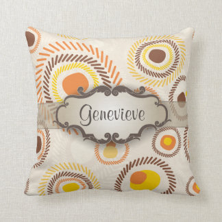 Golden Sunbursts with Nameplate Throw Pillow