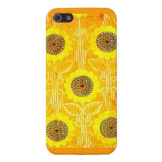 GOLDEN SUNFLOWER ART TEXTILE PATTERN AWESOME! iPhone SE/5/5s CASE