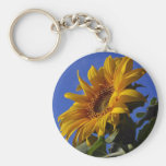 Golden Sunflower Basic Round Button Keychain
