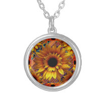 GOLDEN SUNFLOWER DECO ART SILVER PLATED NECKLACE