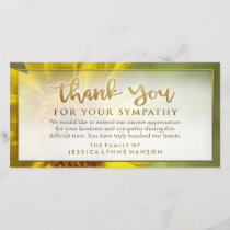 Golden Sunflower Floral Thank You Sympathy Card
