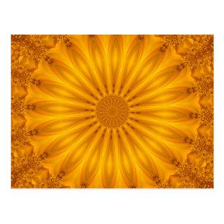 Golden Sunflower Kaleidoscope Postcard