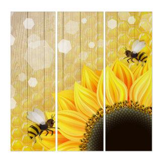 Golden Sunflower w Honeycomb Honeybee art Triptych