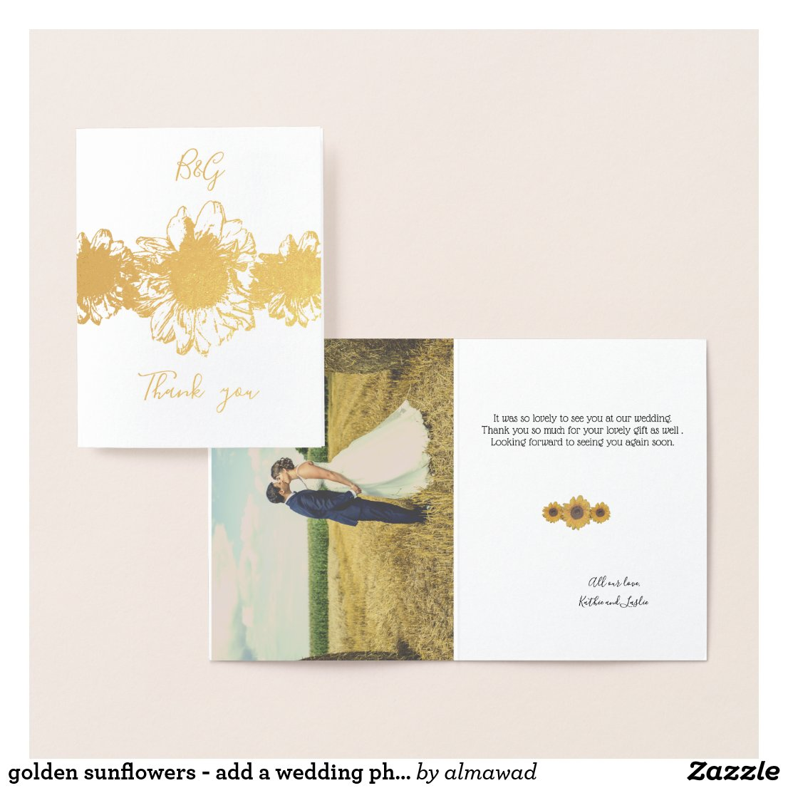 golden sunflowers - add a wedding photo foil card