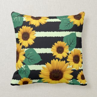 Golden Sunflowers and Jagged Navy Stripes Graphic Throw Pillow
